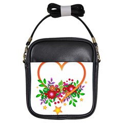 Heart Flowers Sign Girls Sling Bags by Nexatart