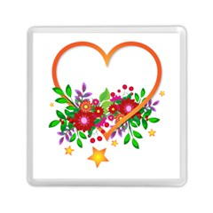 Heart Flowers Sign Memory Card Reader (square)  by Nexatart
