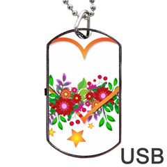 Heart Flowers Sign Dog Tag Usb Flash (two Sides)