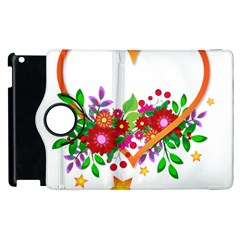 Heart Flowers Sign Apple Ipad 2 Flip 360 Case by Nexatart