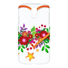 Heart Flowers Sign Samsung Galaxy S4 I9500/i9505 Hardshell Case