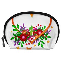 Heart Flowers Sign Accessory Pouches (large)