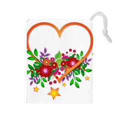 Heart Flowers Sign Drawstring Pouches (large)  by Nexatart