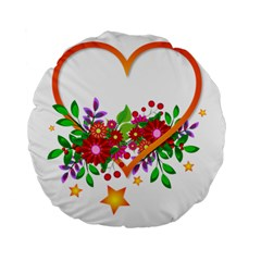 Heart Flowers Sign Standard 15  Premium Flano Round Cushions