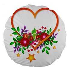 Heart Flowers Sign Large 18  Premium Flano Round Cushions by Nexatart