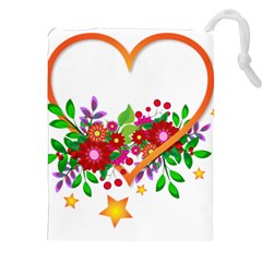 Heart Flowers Sign Drawstring Pouches (xxl)