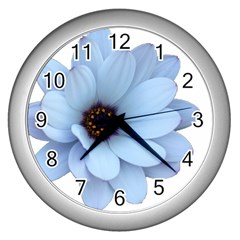 Daisy Flower Floral Plant Summer Wall Clocks (silver)  by Nexatart
