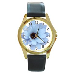 Daisy Flower Floral Plant Summer Round Gold Metal Watch by Nexatart