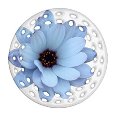Daisy Flower Floral Plant Summer Round Filigree Ornament (two Sides) by Nexatart