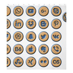 Social Media Icon Icons Social Shower Curtain 66  X 72  (large)