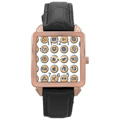 Social Media Icon Icons Social Rose Gold Leather Watch