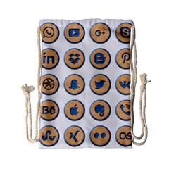 Social Media Icon Icons Social Drawstring Bag (small) by Nexatart