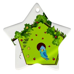 Bluebird Bird Birdhouse Avian Ornament (star)
