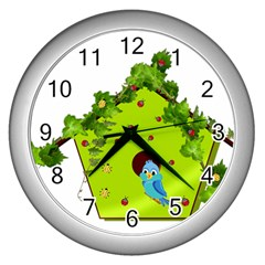 Bluebird Bird Birdhouse Avian Wall Clocks (silver)