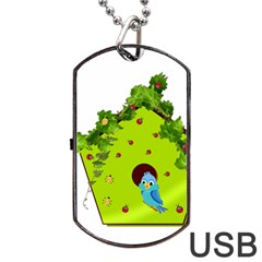 Bluebird Bird Birdhouse Avian Dog Tag Usb Flash (two Sides) by Nexatart
