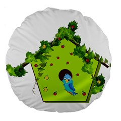 Bluebird Bird Birdhouse Avian Large 18  Premium Flano Round Cushions by Nexatart