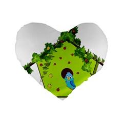 Bluebird Bird Birdhouse Avian Standard 16  Premium Flano Heart Shape Cushions by Nexatart