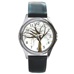 Tree Fantasy Magic Hearts Flowers Round Metal Watch by Nexatart