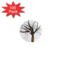 Tree Fantasy Magic Hearts Flowers 1  Mini Magnets (100 Pack)  by Nexatart