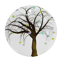 Tree Fantasy Magic Hearts Flowers Round Ornament (two Sides) by Nexatart