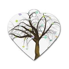 Tree Fantasy Magic Hearts Flowers Dog Tag Heart (one Side)
