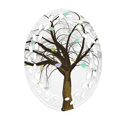 Tree Fantasy Magic Hearts Flowers Oval Filigree Ornament (two Sides) by Nexatart