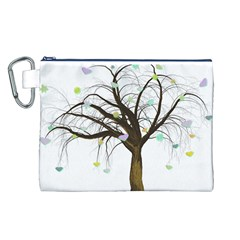 Tree Fantasy Magic Hearts Flowers Canvas Cosmetic Bag (l) by Nexatart