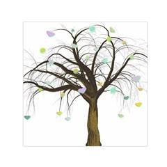 Tree Fantasy Magic Hearts Flowers Small Satin Scarf (square)