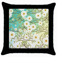 Springtime Scene Throw Pillow Case (black) by linceazul