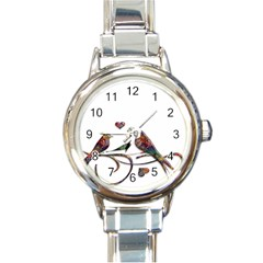 Birds Abstract Exotic Colorful Round Italian Charm Watch