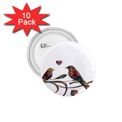 Birds Abstract Exotic Colorful 1 75  Buttons (10 Pack)