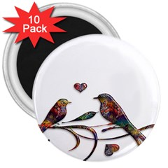 Birds Abstract Exotic Colorful 3  Magnets (10 Pack)