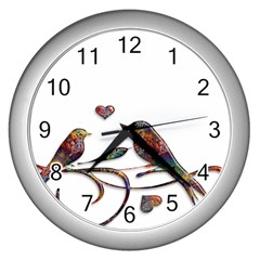 Birds Abstract Exotic Colorful Wall Clocks (silver)  by Nexatart