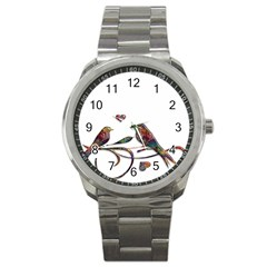Birds Abstract Exotic Colorful Sport Metal Watch by Nexatart