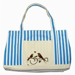 Birds Abstract Exotic Colorful Striped Blue Tote Bag by Nexatart
