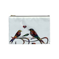 Birds Abstract Exotic Colorful Cosmetic Bag (medium)  by Nexatart