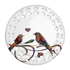 Birds Abstract Exotic Colorful Round Filigree Ornament (two Sides) by Nexatart