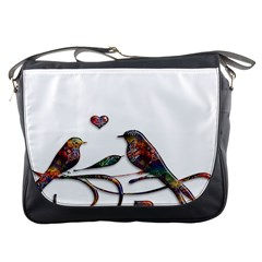 Birds Abstract Exotic Colorful Messenger Bags by Nexatart