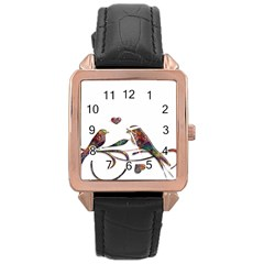 Birds Abstract Exotic Colorful Rose Gold Leather Watch