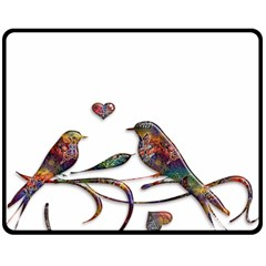 Birds Abstract Exotic Colorful Double Sided Fleece Blanket (medium)  by Nexatart