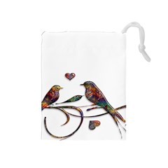 Birds Abstract Exotic Colorful Drawstring Pouches (medium)  by Nexatart