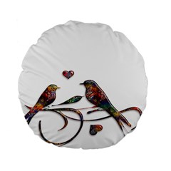Birds Abstract Exotic Colorful Standard 15  Premium Flano Round Cushions by Nexatart