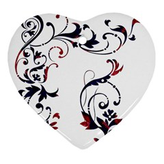 Scroll Border Swirls Abstract Heart Ornament (two Sides)