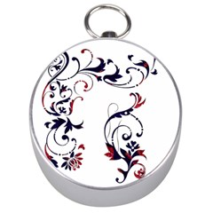 Scroll Border Swirls Abstract Silver Compasses