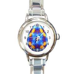 Easter Eggs Egg Blue Yellow Round Italian Charm Watch
