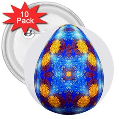 Easter Eggs Egg Blue Yellow 3  Buttons (10 Pack)
