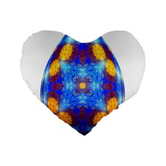 Easter Eggs Egg Blue Yellow Standard 16  Premium Flano Heart Shape Cushions by Nexatart