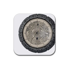 Clock Celtic Knot Time Celtic Knot Rubber Square Coaster (4 Pack)