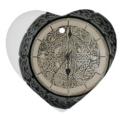 Clock Celtic Knot Time Celtic Knot Heart Ornament (two Sides) by Nexatart