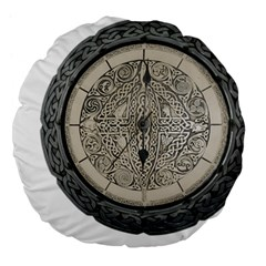 Clock Celtic Knot Time Celtic Knot Large 18  Premium Flano Round Cushions by Nexatart
